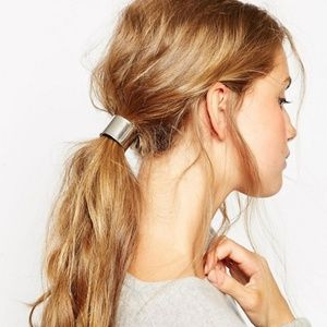 ASOS Sleek Circle Hair Tie Silver